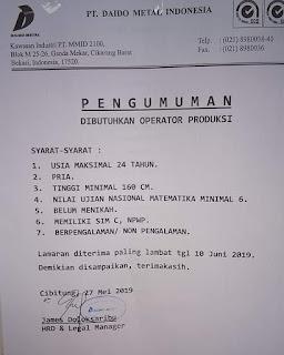 Lowongan kerja karir pt daido metal indonesia 2020
