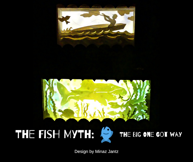 The Fish Myth: Lightbox & Stabile by Minaz Jantz Lights turned on.