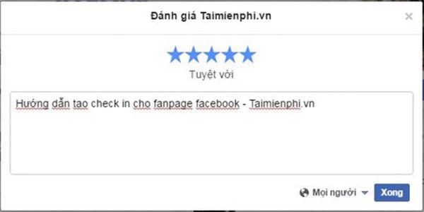 check in trên fanpage