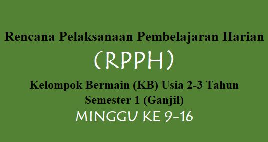 RPPH Kelompok Bermain (KB) Usia 2-3 Tahun Semester 1 Minggu 9-16
