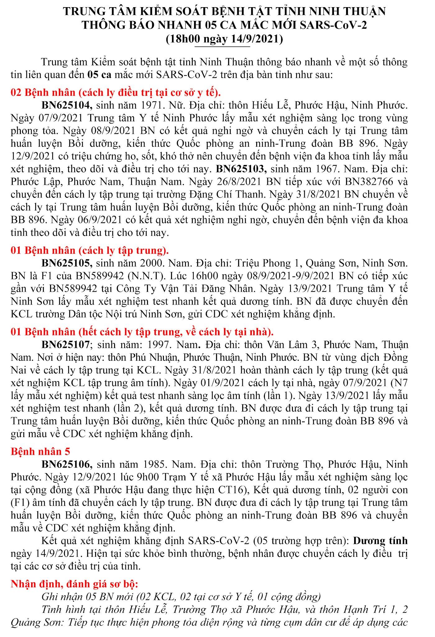 Ngày 14-9 Ninh Thuận ghi nhận 5 ca mắc Covid-19 mới