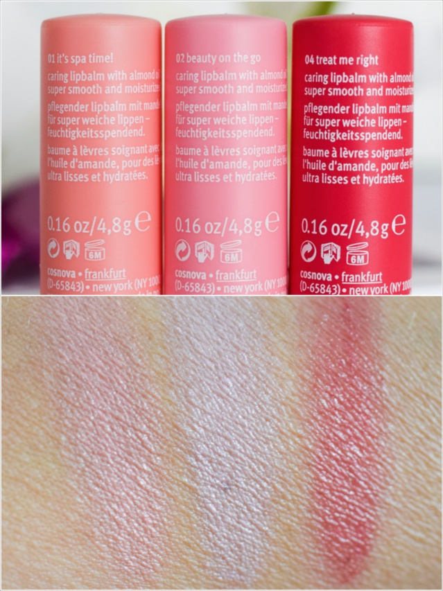 essence, range update autumn Winter 2016 balmy kiss moisturizing lip care, swatch