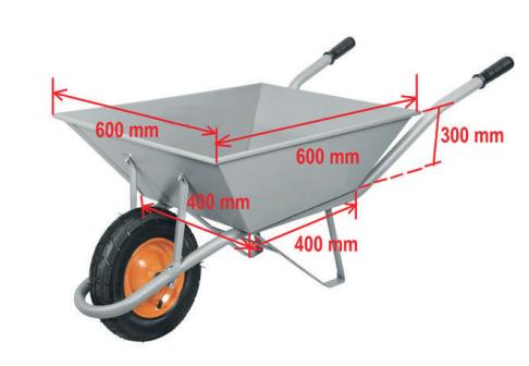(PAES UEMA - 2021) Suponha que um carrinho de mão possui as dimensões de um tronco de pirâmide, conforme a figura a seguir.