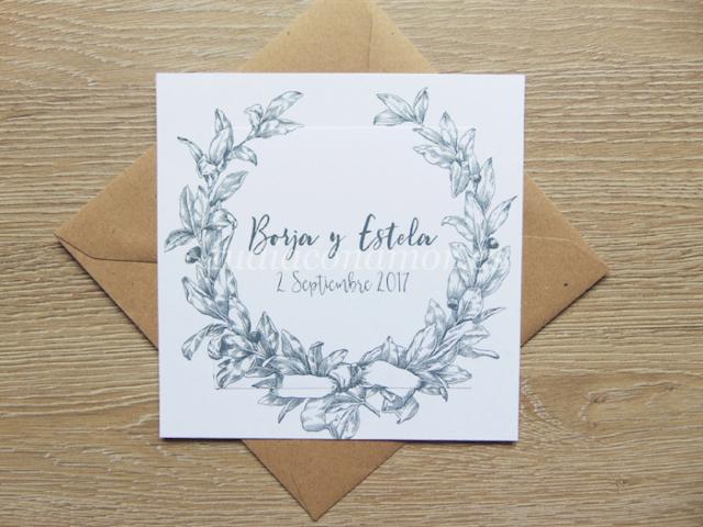 Ideal para una boda clásica, invitación con corona de laurel dibujada de estilo francés