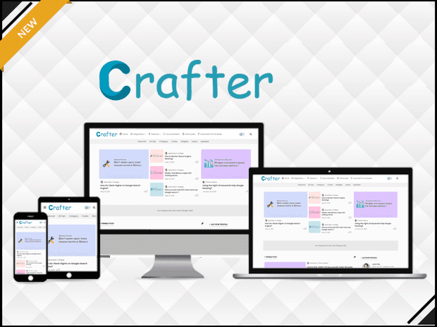 Crafter - Clean & UI Magazine Blogger Template - Blogger Template 2021