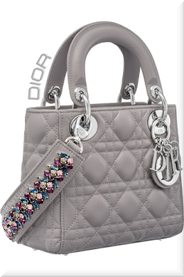 ♦Dior Lady Dior montaigne grey top handle lambskin mini bag with colorful bejeweled strap and iconic silver Dior charms #dior #bags #ladydior #brilliantluxury