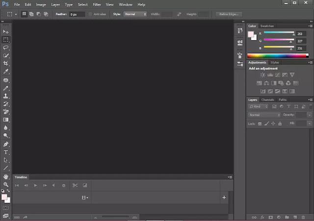 Tampilan Awal Adobe Photoshop CC