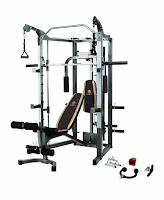 Marcy SM-4008 Combo Smith Machine Home Gym, Smith-style press bar, independent motion upper pulley system, pull-up bar, total leg developer, multi-position adjustable bench