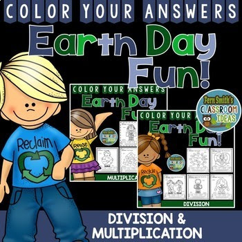 Earth Day Color By Numbers Multiplication and Division Bundle