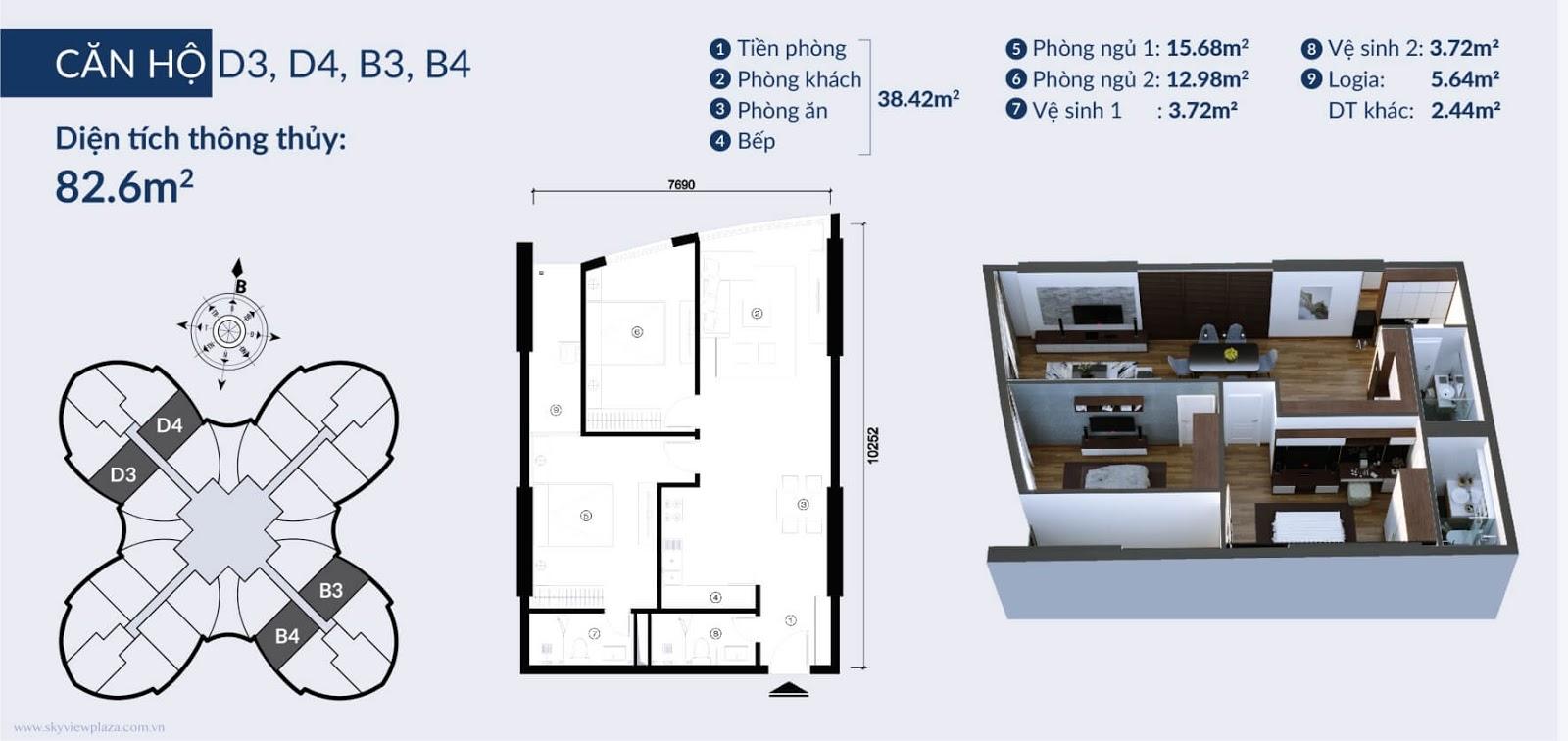 Chi tiết căn hộ D3 D4 và B3 B4 dự án Sky View Giải Phóng