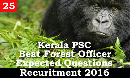 Kerala PSC - Expected Questions for Beat Forest Officer 2016 - 25