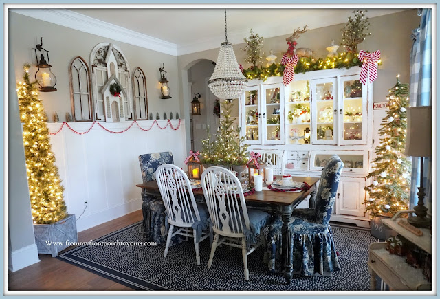 Cottage -Farmhouse -Christmas- Dining -Room-Blue & White Decor-French Country Chairs-Pottery Barn Mia-Chandelier-White-Dining-Cabinet-From My Front Porch To Yours
