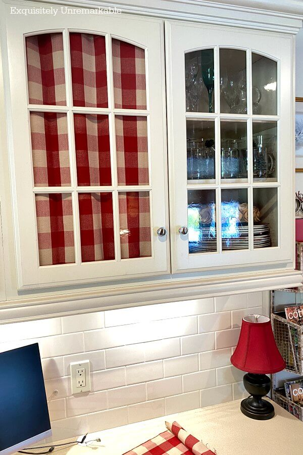 Hanging Fabric On Glass Cabinets