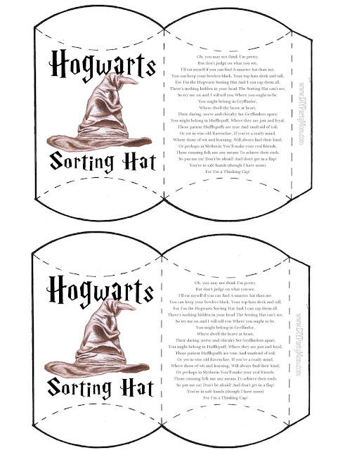Harry Potter Hogwarts Houses Sorting Hat Pillow Box Printable