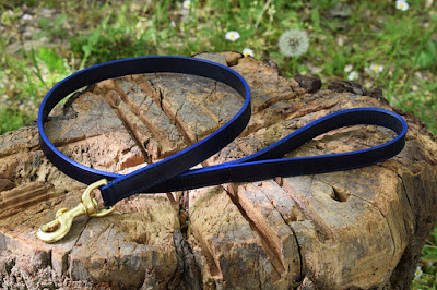 Blue leather leash for a Dobermann, 100 cm long and 19 mm wide, with solid brass snap-hook