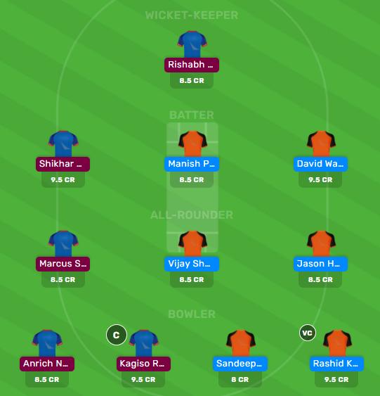 srh vs dc dream11 team for today's match
