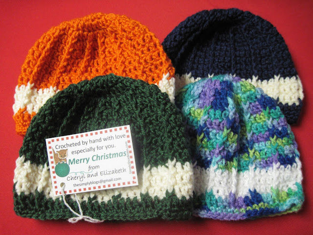 Crocheted hats for Operation Christmas Child shoeboxes.