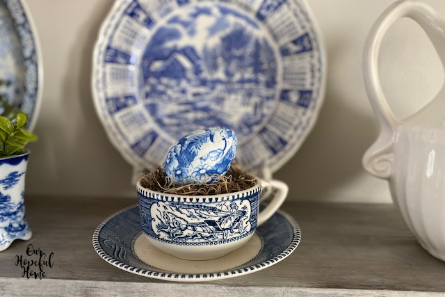 farmhouse shelf decor blue white china tea cup saucer