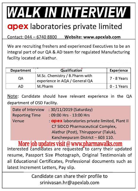 Apex Laboratories walk-in interview QA & AD on 30th Nov' 2019