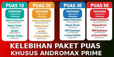 yang bisa dengan mudah dijadikan modem wifi karena sudah mendukung hotspot portabel Murahnya Paket Super PUAS Andromax Prime Dari Smartfren