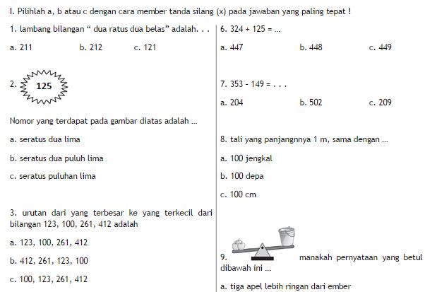 Soal Uas Matematika Kelas 2 Semester 1 Ganjil Soalbagus Com