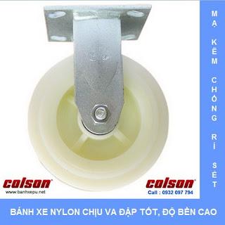 Bánh xe đẩy Nylon công nghiệp chịu tải nặng 370kg | S4-6208-829 www.banhxepu.net