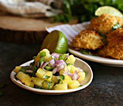 Southwestern-Chorizo-Filled Potato-Poppers-and-Pineapple-Salsa
