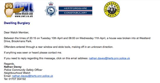 Screen grab of an OWL burglary message