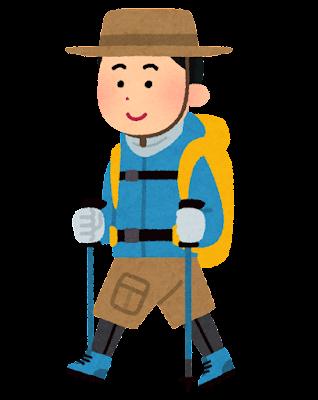 トレッキングをしている人のイラスト(長袖の男性)