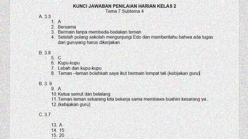 Soal Penilaian Harian Kelas 2 Tema 7 Subtema 4 dan Kunci Jawaban