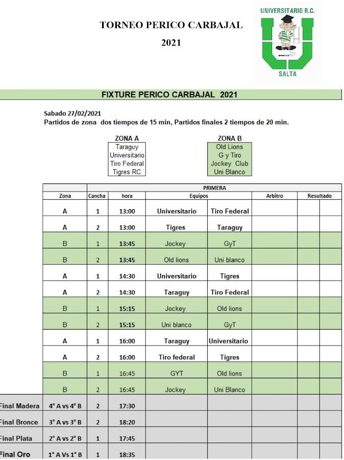 Fixture del Perico Carbajal 2021