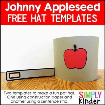 In celebration of Johnny Appleseed Day, don this cute hat.  Your Preschool, Kindergarten, and First Grade learner will love these!