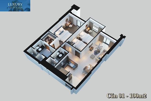 Mặt bằng căn 01 dự án Luxury Apartment