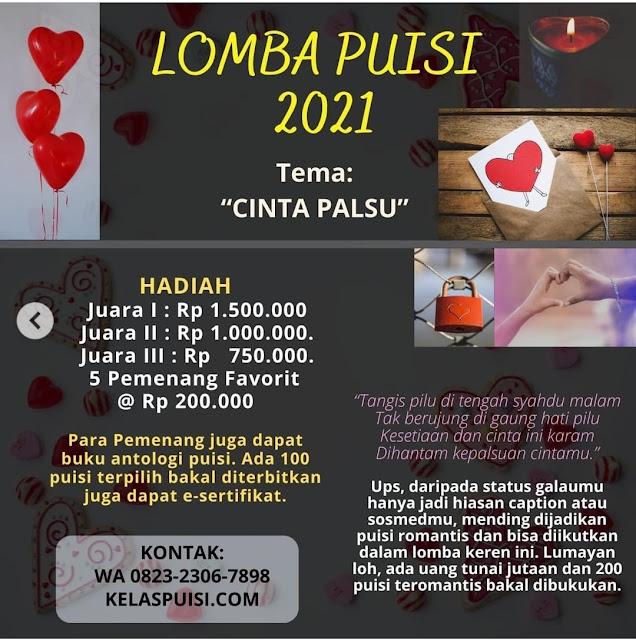 """LOMBA PUISI 2021 Tema: """"CINTA PALSU""""."""