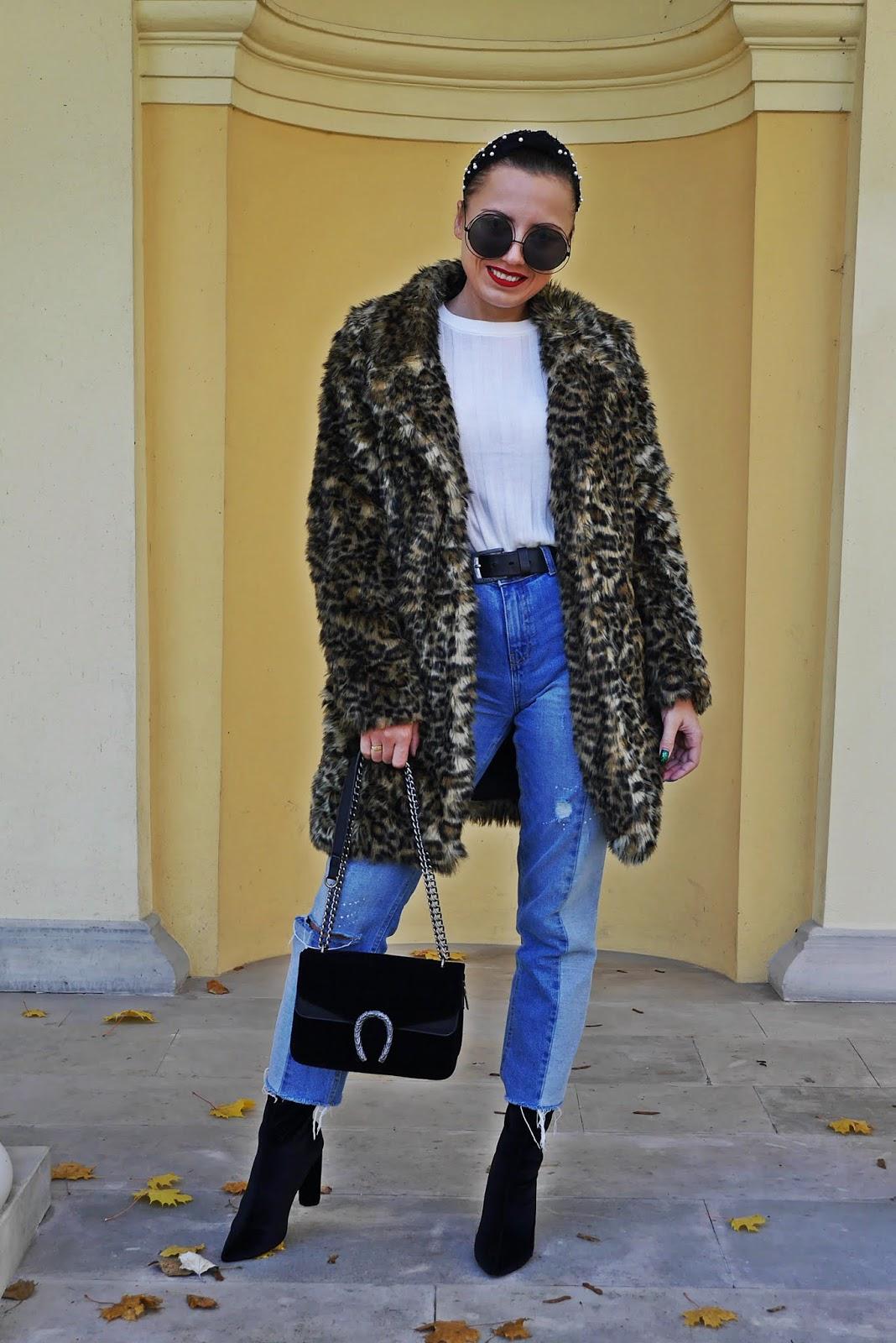 futerko w panterkę new look sh jeansy cropp botki renee skarpetkowe opaska aliexpress z perełkami karyn blog modowy blogerka modowa puławy look stylizacja jesienna