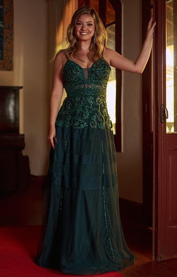 vestido de festa longo verde esmeralda com bordado