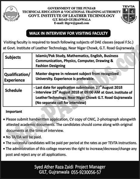 Jobs in Tevta for Visiting faculty, DAE, Mastser