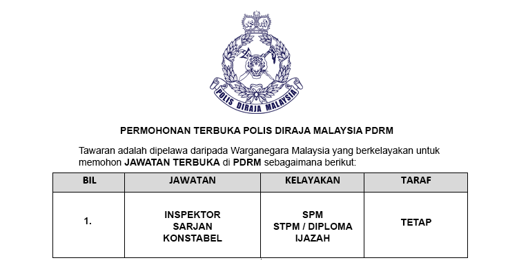 Polis DiRaja Malaysia PDRM [ Permohonan Terbuka ]
