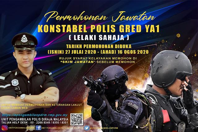 Permohonan Jawatan Konstabel Polis Gred YA1 (LELAKI SAHAJA)