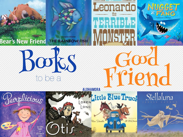 A Book List on Being a Good Friend and Good Friendships.  These picture books are all great read alouds for parents, teachers, and librarians.  Funny and humorous books boys and girls alike will enjoy.  Character Education. Toddlers, Preschool, Kindergarten 1st 2nd 3rd 4th.  Even lesson ideas. Alohamora Open a Book http://alohamoraopenabook.blogspot.com/ Mo Willems, Sauer, Cannon, Long, Kann, Wilson, Pfister, Schertle authors.  Books to teach good traits.