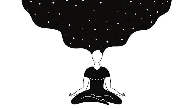 ilustração de mulher meditando em posição de lotus e estrelas no cabelo