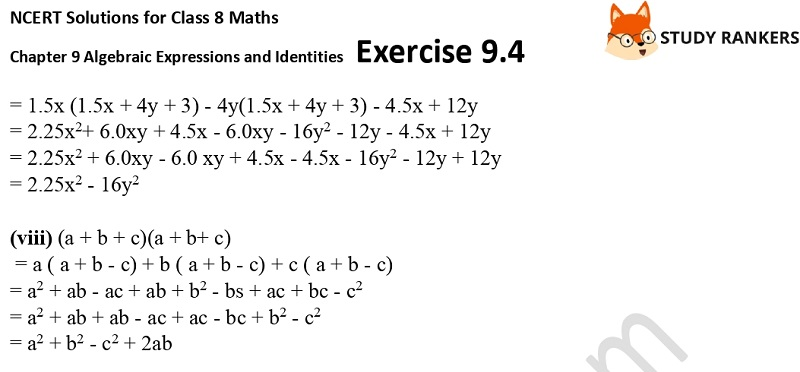 NCERT Solutions for Class 8 Maths Ch 9 Algebraic Expressions and Identities Exercise 9.4 4