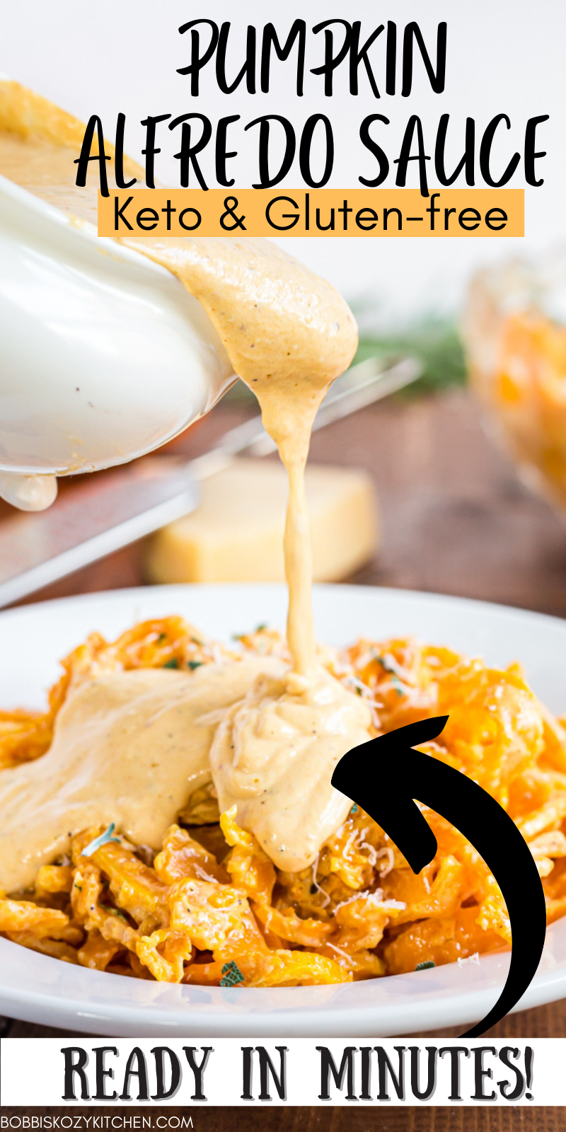 Pumpkin Alfredo Sauce - This Pumpkin Alfredo Sauce is an easy weeknight dish with a few ingredients, is done in less than 20 minutes, plus it is low carb and gluten-free! #pumpkin #lowcarb #alfredo #sauce #keto #glutenfree #recipe