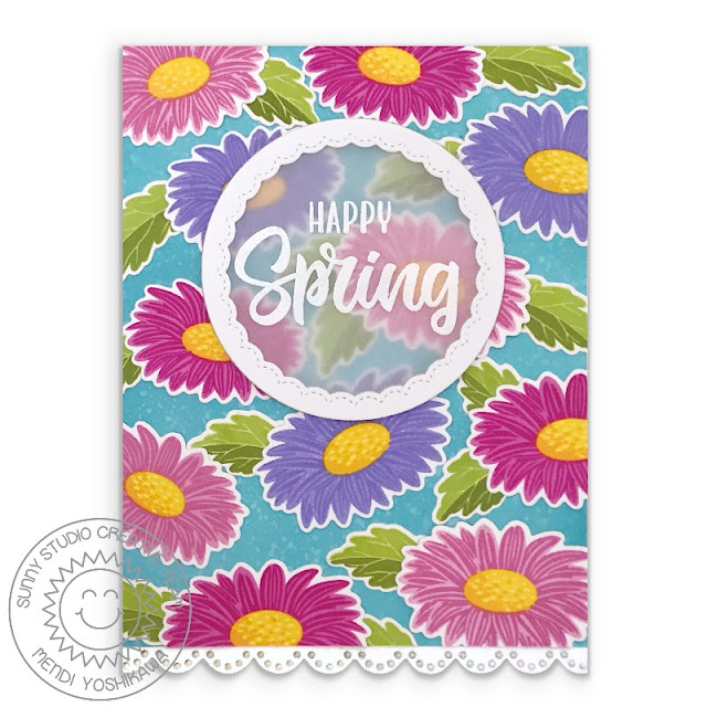 Sunny Studio Blog: Colorful Daisy Flower Hello Spring Card with Flower Background (using Cheerful Daisies Stamps, Fancy Frames Circle & Eyelet Lace Border Dies)