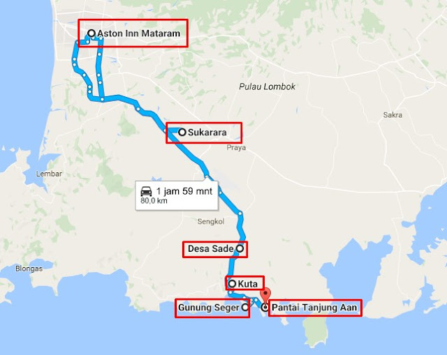 Rute dari Aston Inn Mataram ke Kuta Tour