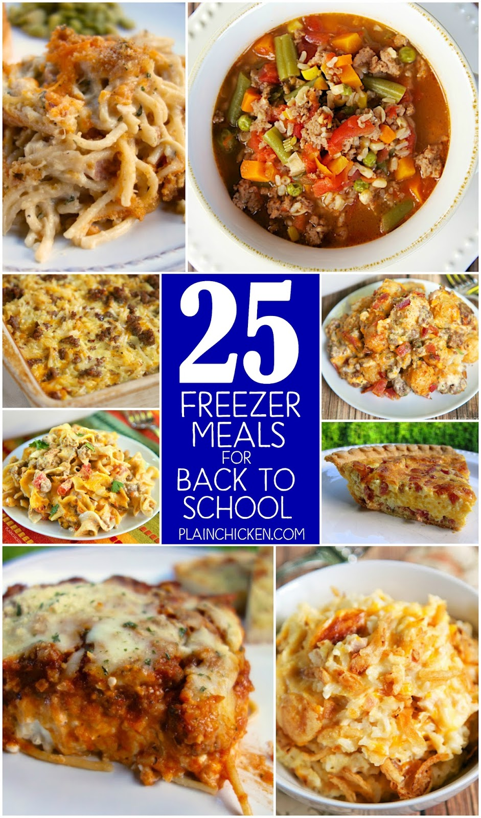 25 Freezer Meals for Back to School - 25 easy and delicious recipes that make great freezer meals. Casserole recipes, soup recipes, pasta recipes, rice casseroles and pasta sauces. GREAT list! I've already made several of these. Such a great help during the week!