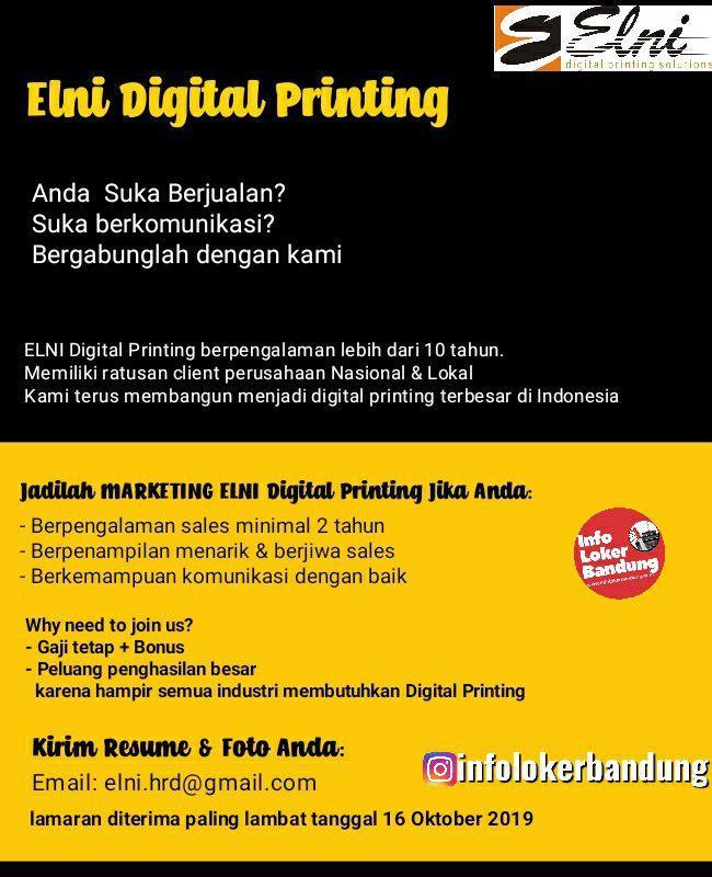 Lowongan Kerja PT. ELNI Digital Printing Bandung Oktober 2019