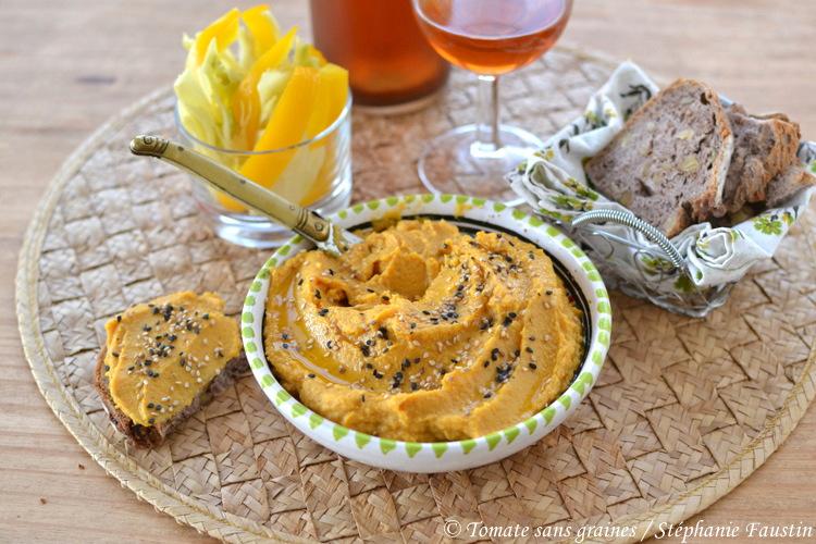 Houmous pois chiches, carottes et curry