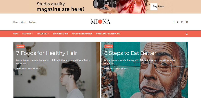 Miona Free Blogger Template