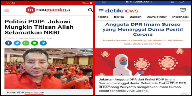 Pernah Sebut Jokowi Titisan Tuhan, Politikus PDIP Meninggal Terkena Corona